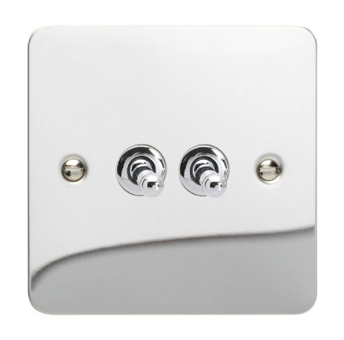 Varilight XFCT2 Ultraflat Polished Chrome 2 Gang 10A 1 or 2 Way Toggle Light Switch